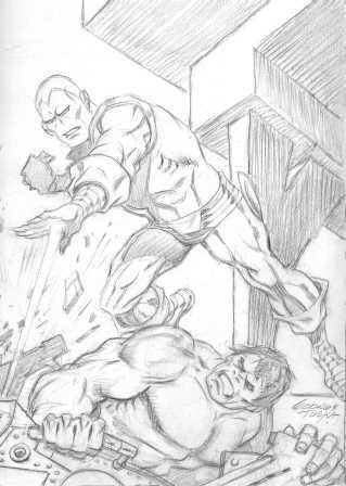 Iron Man vs. the Hulk, pencils by George Tuska