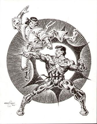 Shang-Chi and the Bronze Tiger, pencils and inks by comics artist Ernie Chan