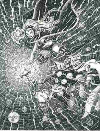 Storm and Beta Ray Bill, pencils and inks by comics artist Ernie Chan