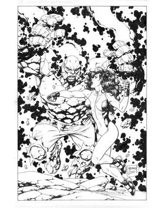 Josiah Power and She-Hulk, pencils and inks by comics artist Tom Grummett