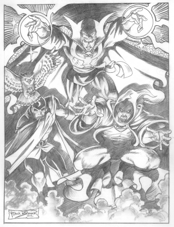 Doctor Strange, Doctor Mid-Nite, and Doctor Druid, pencil art by Frank Brunner