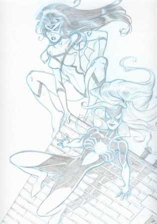 Spider-Woman (Jessica Drew) and Spider-Woman (Julia Carpenter), pencils by Michael Dooney
