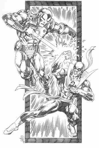 Iron Man and Iron Fist, pencils by Scott Rosema