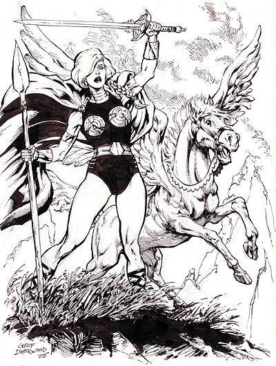 Valkyrie and Aragorn, pencils and inks by Geof Isherwood