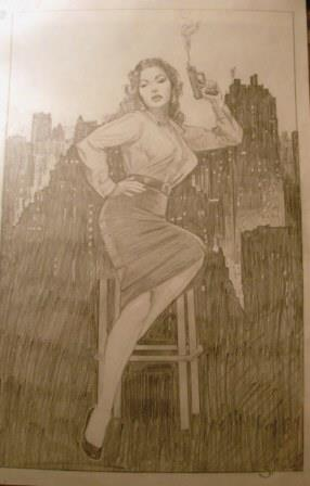 Pencil pinup by artist Jim Silke