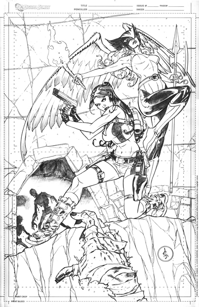 Lara Croft and Hawkgirl, pencils by comics artist Drew Edward Johnson
