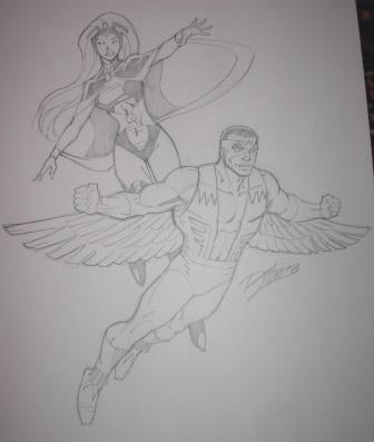 Storm and the Falcon, pencils by comics artist Ron Lim