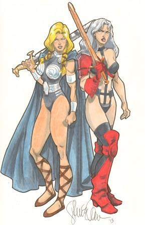Valkyrie and Taarna, mixed media art by Steven E. Gordon