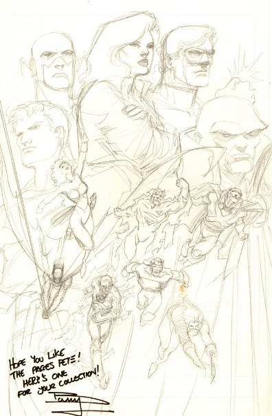 Justice League preliminary pencil sketch by Barry Kitson