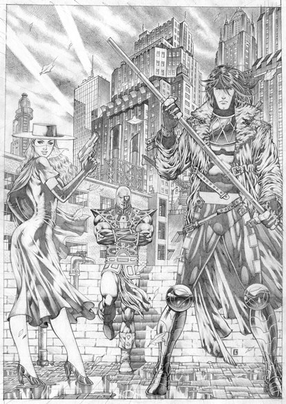 Lady Luck, Jack of Hearts, and Gambit, pencils by comics artist Allan Goldman