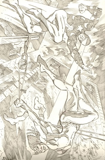 Comet and Vixen, pencils by comics artist Luke McDonnell