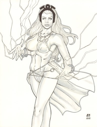 Storm, pencils and inks by comics artist Christopher Foulkes