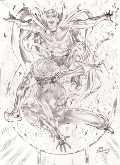 Free Spirit and Mister Miracle, pencils by comics artist Geof Isherwood