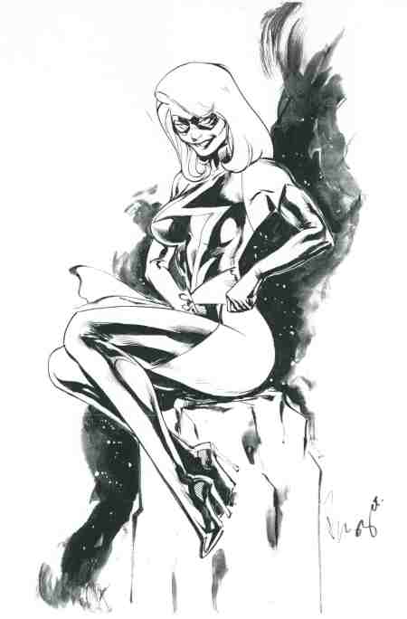 Ms. Marvel, pencils and inks by the comics artist Buzz