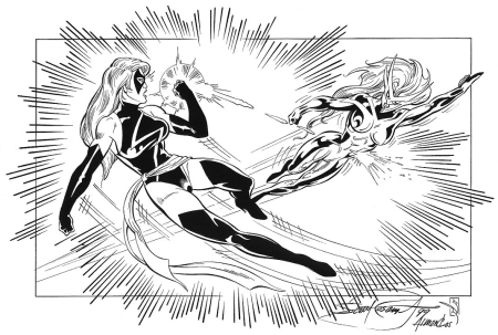 Ms. Marvel and Moonstone, pencils by Scott Rosema, inks by Bob Almond