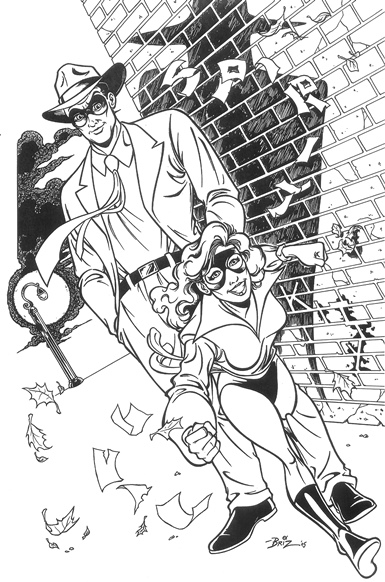 "The Spirit and Shadowcat, pencils and inks by Brian Douglas Ahern (""Briz"")"