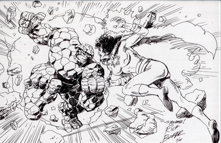 The Thing and Sabra, pencils and inks by comics artist Rich Buckler