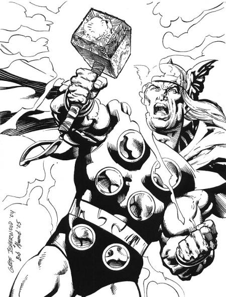 Thor, pencils by Geof Isherwood, inks by Bob Almond