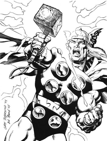 Thor, pencils by Geof Isherwood, inks by Bob Almond