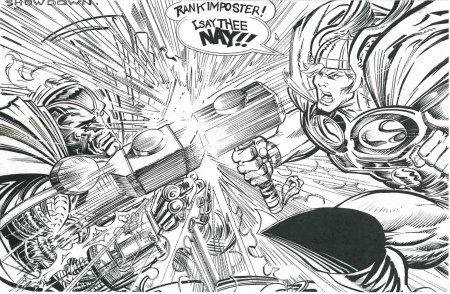 Steel vs. Thor, pencils by Trevor Von Eeden, inks by Joe Rubinstein