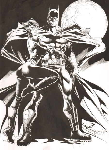Batman and Catwoman, pencils by Ron Adrian, inks by Di Amorim