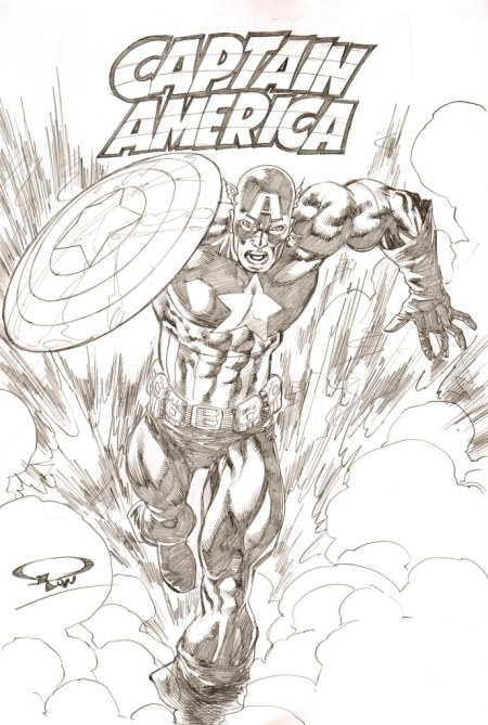 Captain America, pencils by comics artist Ron Adrian