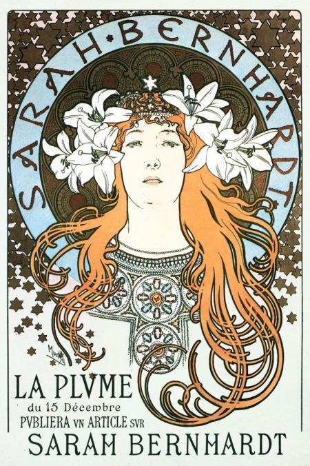 Poster featuring Sarah Bernhardt, by Alphonse Mucha