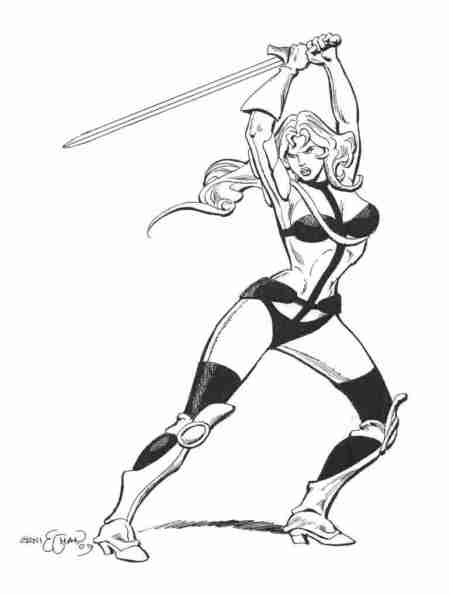 Taarna, pencils and inks by comics artist Ernie Chan