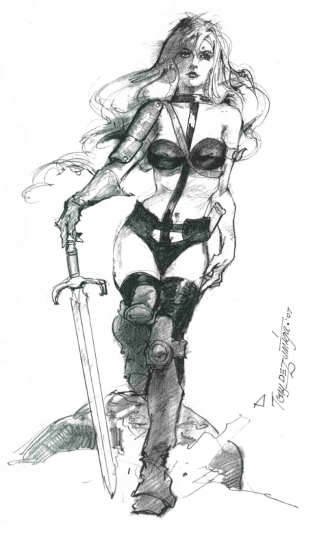 Taarna, pencils by comics artist Tony DeZuniga