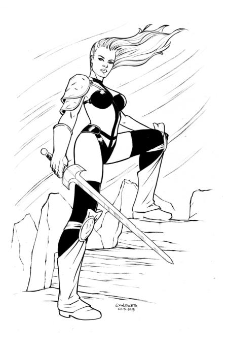 Taarna, pencils and inks by comics artist Gene Gonzales