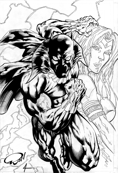 Black Panther and Storm, pencils by Ron Adrian, inks by Bob Almond