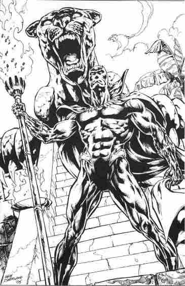 Black Panther, pencils and inks by Geof Isherwood