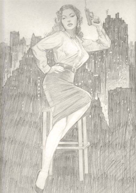 Femme fatale pinup, inspired by Mara Corday, pencil study by Jim Silke
