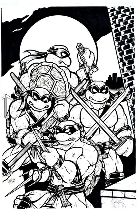 Teenage Mutant Ninja Turtles, pencils and inks by Josh Lyman