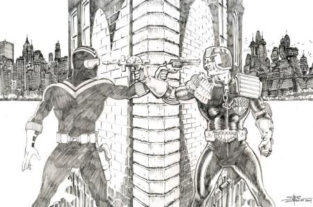 Vigilante and Judge Dredd, pencils by comics artist Steve Erwin