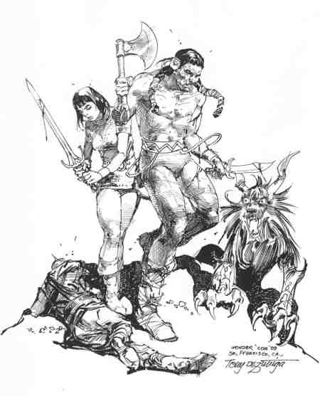 Arak and Valda, pencils and inks by Tony DeZuniga