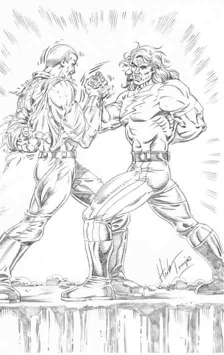 Doc Savage and Doc Samson, pencils by Herb Trimpe