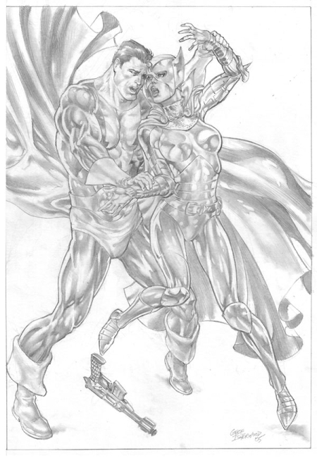 Dynamo and Iron Maiden, pencils by Geof Isherwood