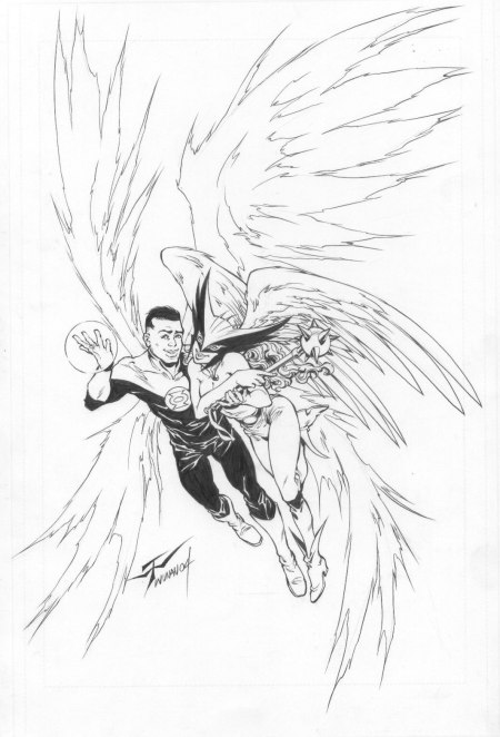 Green Lantern John Stewart and Hawkgirl, pencils and inks by Wilson Tortosa