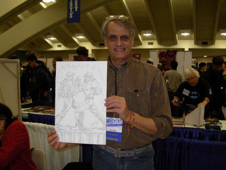 Herb Trimpe and his Common Elements commission, WonderCon 2008; photo by Michael Rankins