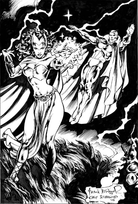 The Scarlet Witch and the Vision, pencils by Frank Brunner, inks by Geof Isherwood