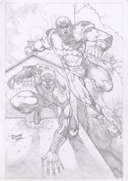 Wildcat and NFL SuperPro, pencils by comics artist Dheeraj Verma