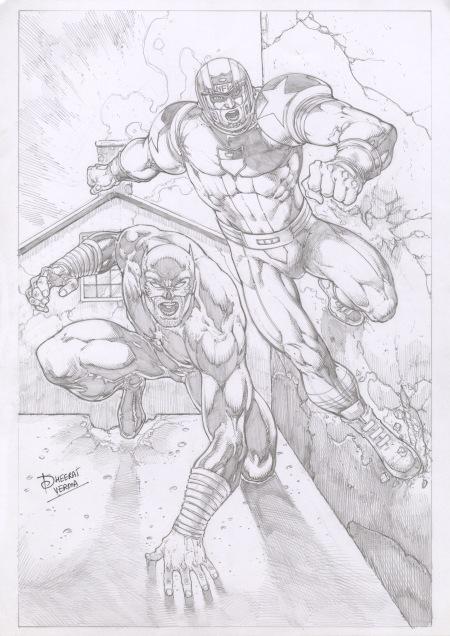 Wildcat and NFL SuperPro, pencils by comics artist Dheeraj Verma