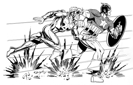 Booster Gold and Captain America, pencils and inks by Bob Layton