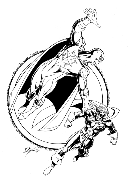 Supernova and Nomad, pencils and inks by Bob Layton
