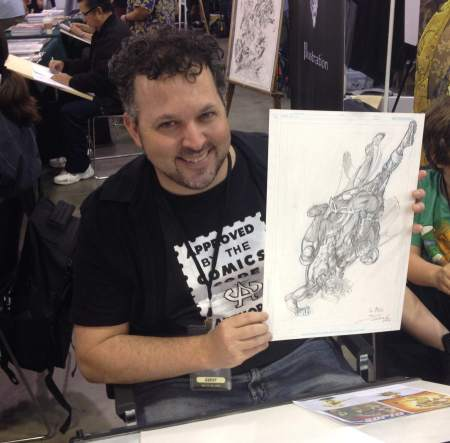 Darick Robertson with his 2006 Common Elements commission, Big Wow 2014