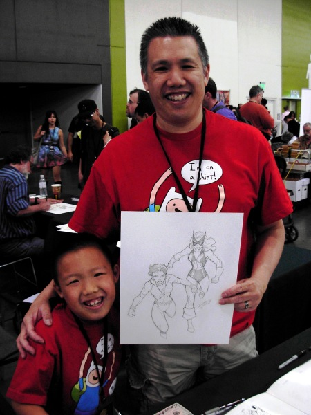 Ron Lim and son, with Vixen and Black Cat, Big Wow ComicFest 2014