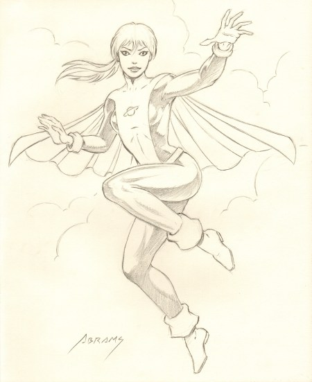 Saturn Girl, pencils by comics artist Paul Abrams