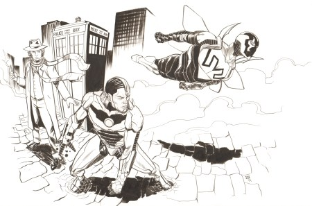 The Fourth Doctor, Cyborg, and Blue Beetle, pencils and inks by Ibrahim Moustafa