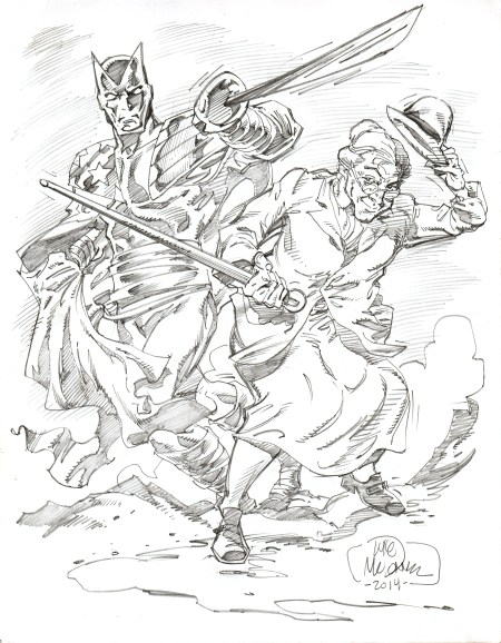 Citizen V and Madam Fatal, pencils by comics artist Luke McDonnell